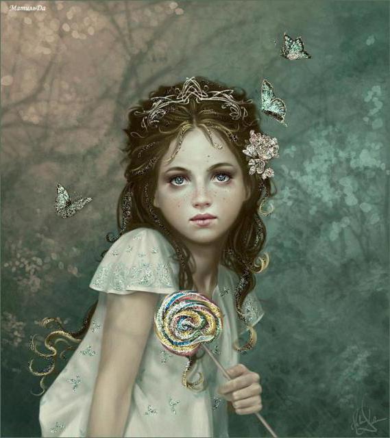 Девочка и бабочки, девочка .