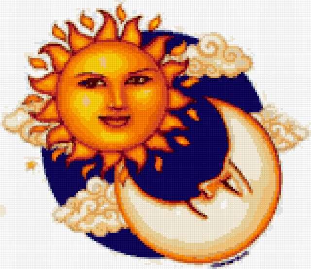 Солнышко и месяц, предпросмотр