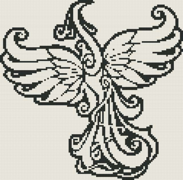 Жарптица,фон-черный,нитки
