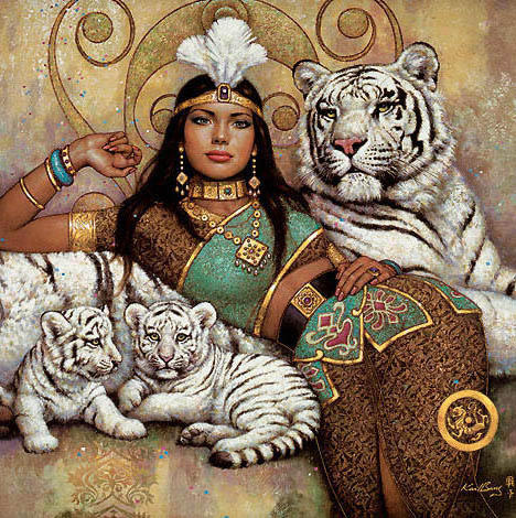 Девушка и тигры, картина,