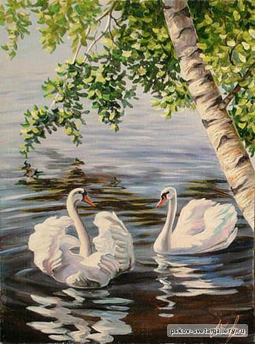 Пара лебедей, живопись, птицы,