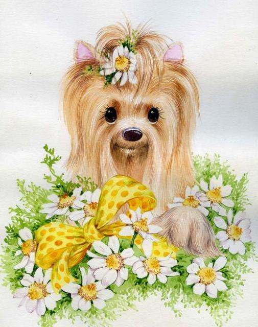 Собака, животные, картина