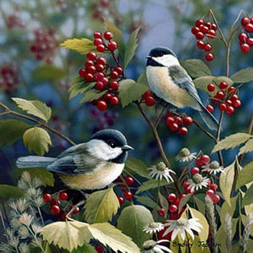 Синицы, живопись, птицы