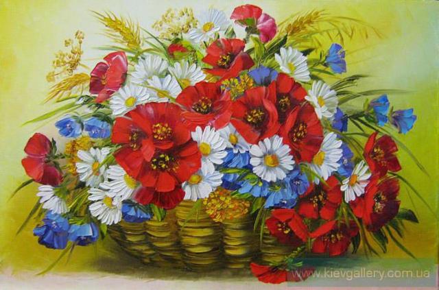 Цветы васильки и ромашки фото