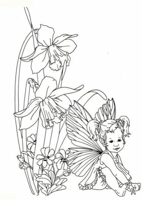 Эльф и цветы, живопись,