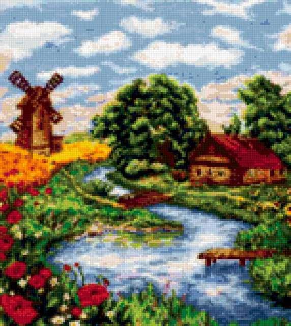 лето, село, деревня,