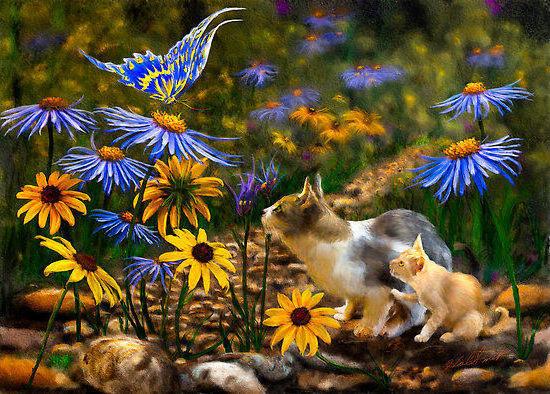 Кошки и цветы, картина,