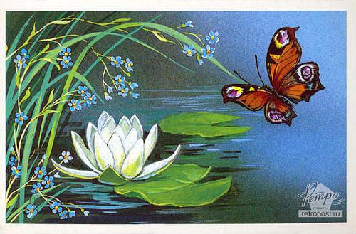 Бабочка и кувшинка, живопись,