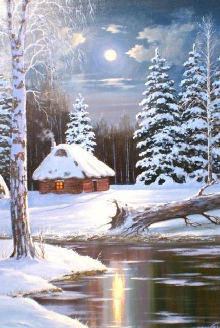 вечер, луна, домик, елка