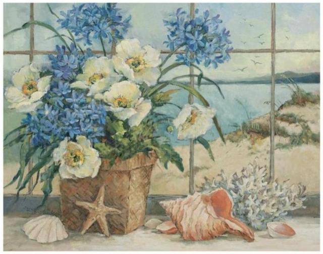 цветы, море, ракушки,