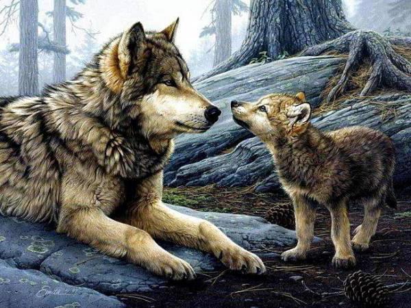 Волчица и волчонок, оригинал