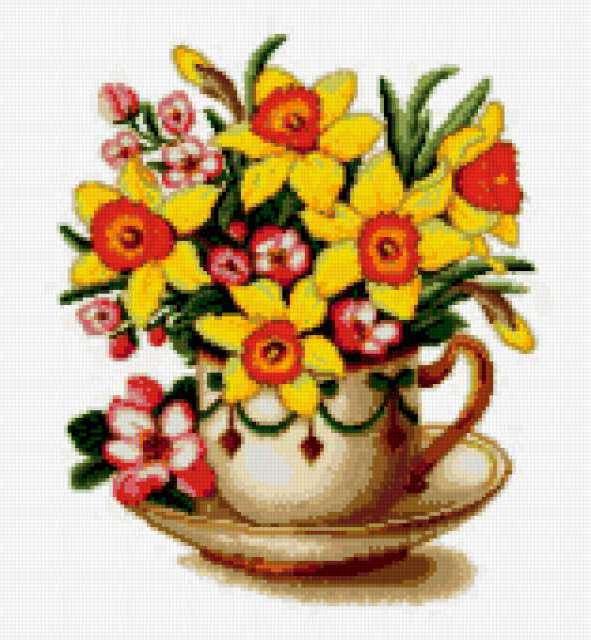Нарциссы в чашке, цветы, букет
