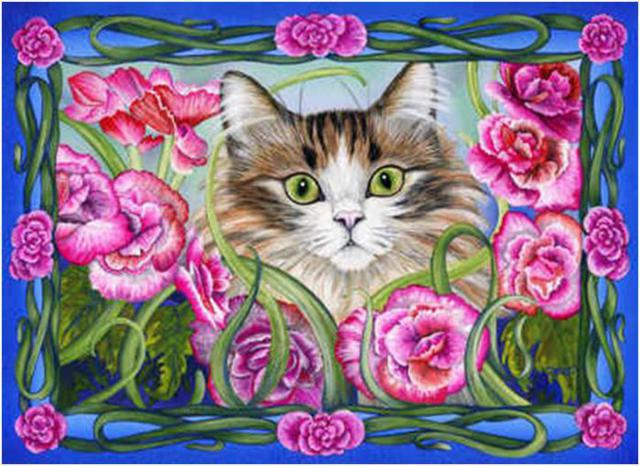 Кот в цветах, оригинал