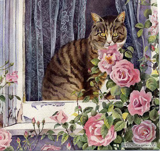 Кошка на окошке, живопись,