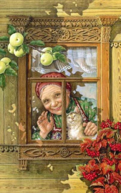Окошко, бабушка, картина