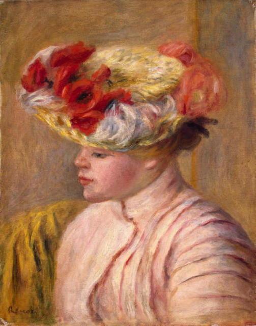 Женщина в шляпе с цветами,