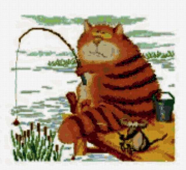 Кот на рыбалке, предпросмотр