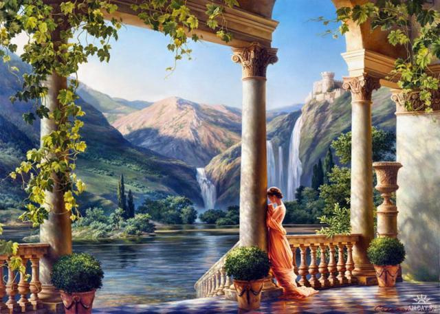 Девушка у водопада, оригинал