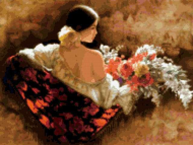 Цыганка с цветами