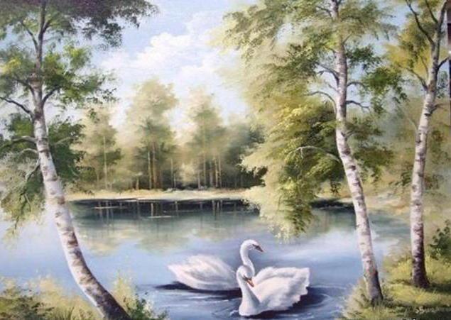 птицы, озеро, пейзаж,
