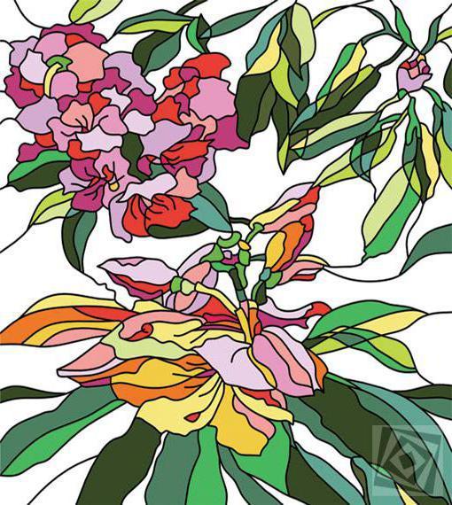 Серия Витраж, цветы, витражи