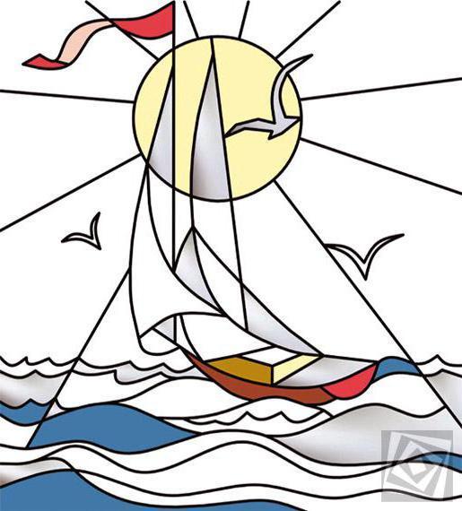 Серия Витраж, яхта, парусник,