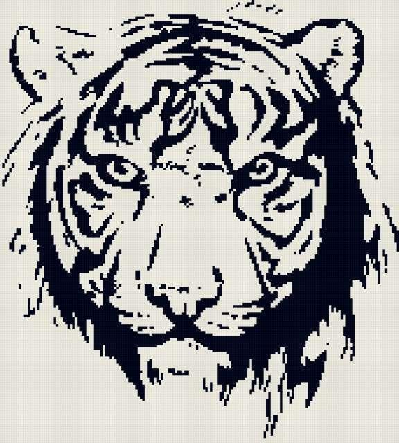 Тигр монохром, предпросмотр