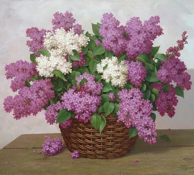 корзина, цветы, гроздья