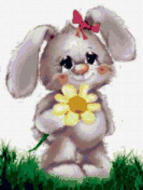 Зайчонок с ромашкой