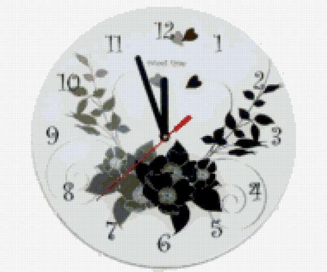 Черно белые часы, предпросмотр