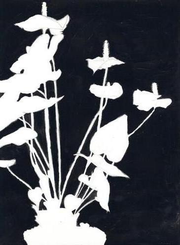 Триптих 3 черно-белые цветы,
