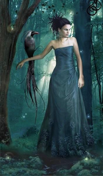 Девушка и птица, картина,