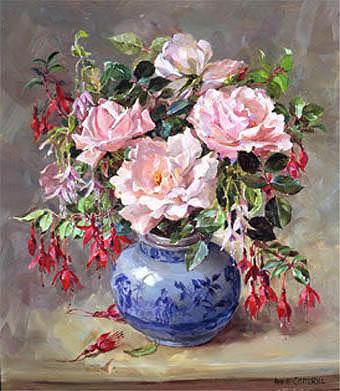 Розы и фуксия, розы, фуксия,