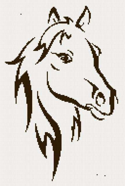 Вышивка монохром схемы лошадь