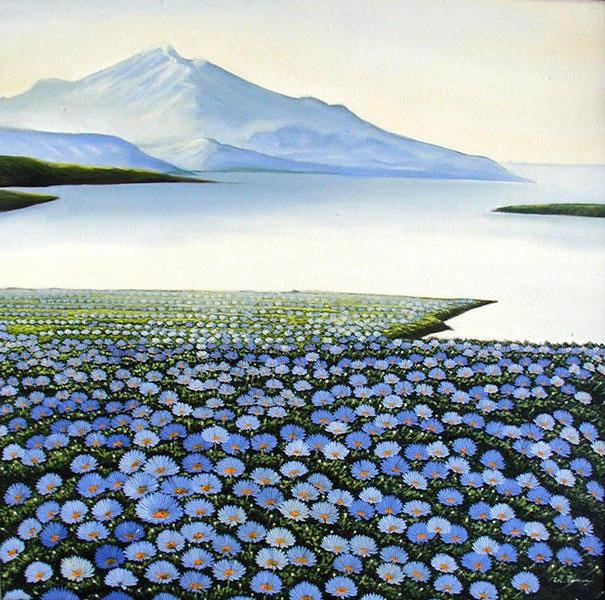 Цветы и горы, оригинал