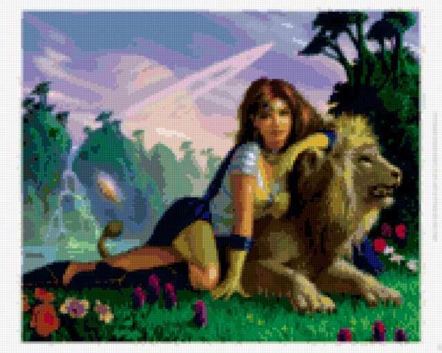 Девушка и лев, девушка,