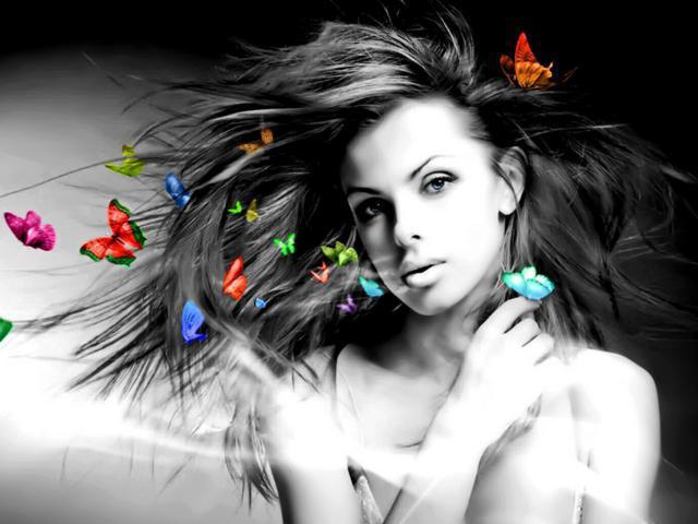 Девушка с бабочками, девушка,