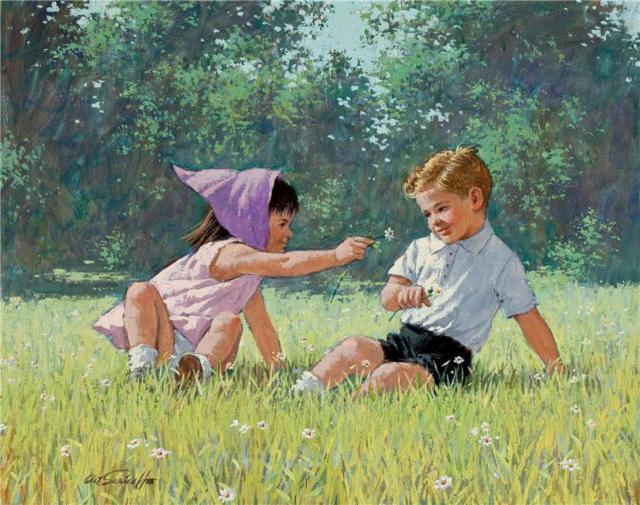 Дети на лугу, оригинал