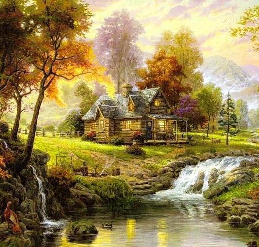 Домик у реки, пейзаж, домик,