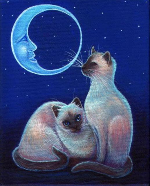 Сиамские кошки, живопись