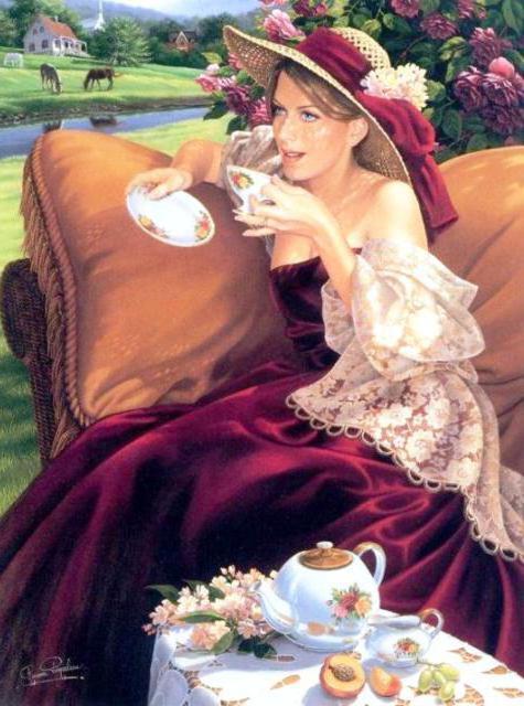 За чашкой чая, картина,