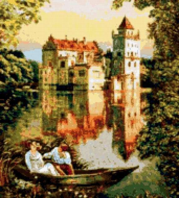 Замок и влюблённые в лодке,