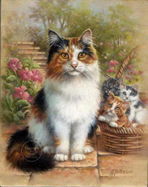 Мама-кошка и котята, оригинал