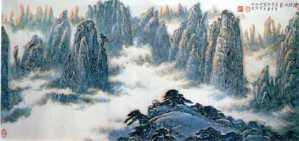 картина, азия, горы,