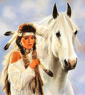 Индейская девушка и конь,
