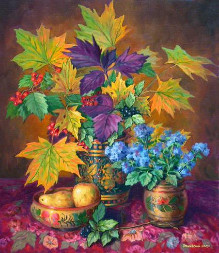 Натюрморт с листьями клена,
