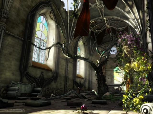 Разрушенный зал, оригинал