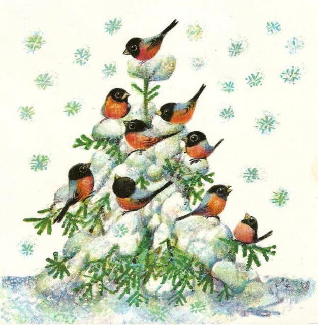 Снегири на елке, оригинал