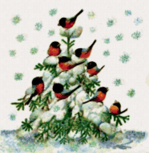 Снегири на елке, предпросмотр