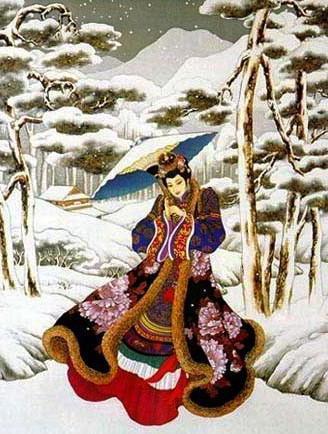 Японка в зимнем лесу, япония,